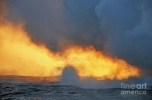 Sami Sarkis - Steam rising off lava flowing into ocean at sunset