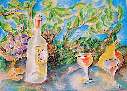 Wine and grapes by Joan Landry