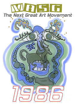 1986 Collectors Edition Poster featuring Upside Down Art by Masg Artist L R Emerson II by L R Emerson II