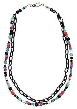 2 Chain Color Play Necklace by Elizabeth Carrozza