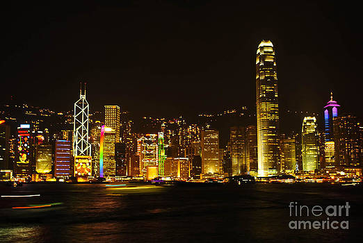 Hong Kong Skylight at dusk landscape The Symphony Of Light Citys by Jeng Suntorn niamwhan
