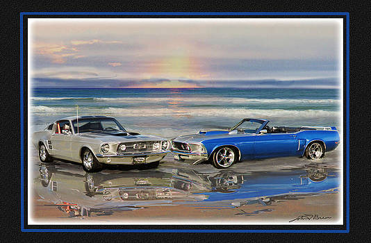 2 Mustangs at the beach by John Breen