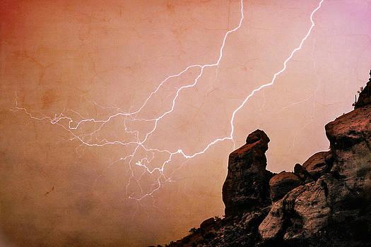 James BO  Insogna - Praying Monk Camelback Mountain Lightning Monsoon Storm Image TX