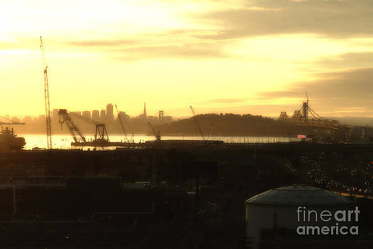 Wingsdomain Art and Photography - Sunset Over San Francisco Skyline Through The Port of Oakland . 7D11028