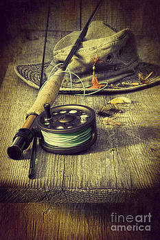Sandra Cunningham - Fly fishing equipment with old hat on bench