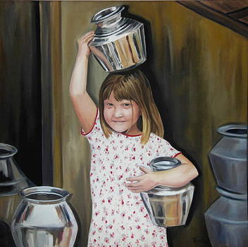 A Girl with Pot by Romi Soni