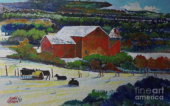 A Pennsylvania Barn and Cattle by Donald McGibbon