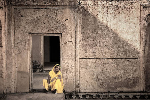 A Woman in Yellow Dress by Mostafa Moftah