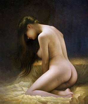A woman sitting on a golden bed  by Yoo Choong Yeul