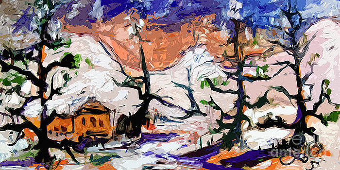 Ginette Callaway - Abstract Cabin In The Snow Winterscene