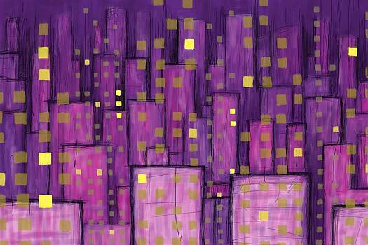 Abstract City - Violet and Yellow by Phil Vance