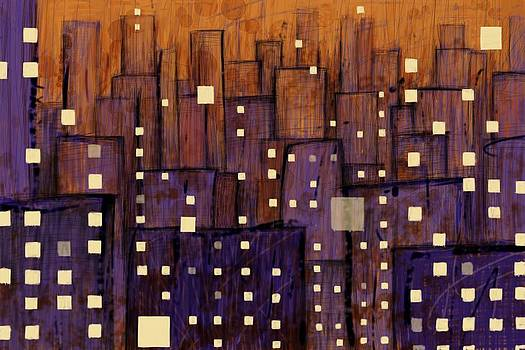 Abstract City - Violet Orange by Phil Vance