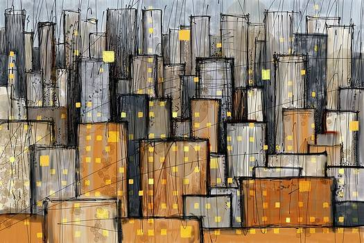 Abstract City Blue and Orange by Phil Vance