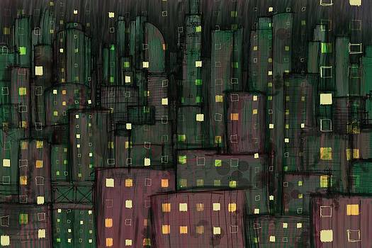 Abstract City in Green and Red by Phil Vance