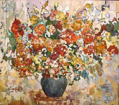 Abstract flowers by Liubov Meshulam Lemkovitch