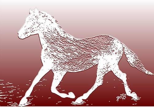 Abstract Wild Running Horse  by Georgeta  Blanaru