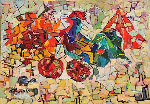 Abstract with rooster by Liubov Meshulam Lemkovitch
