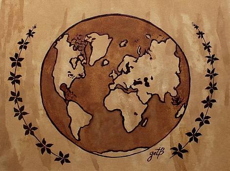 Abstract World Globe Map coffee painting by Georgeta  Blanaru