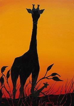 African Giraffe At Sunset 10 by Portland Art Creations