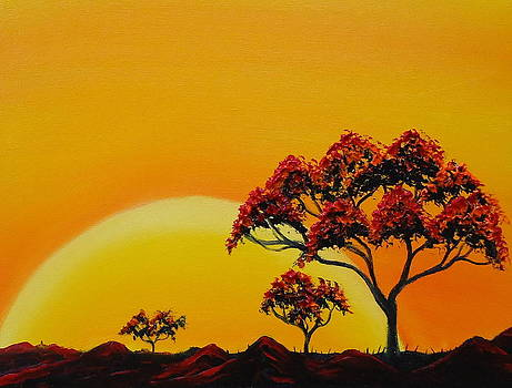 African Tree Sunset 1 by Portland Art Creations