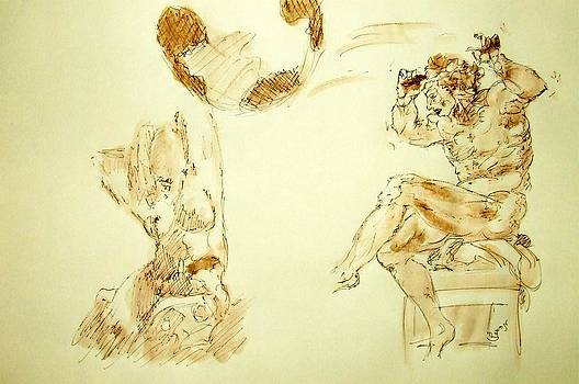 Agony and Atlas Sketch Watercolor Throwing the World as he Transforms Life From a Burden to Freedom by MendyZ M Zimmerman