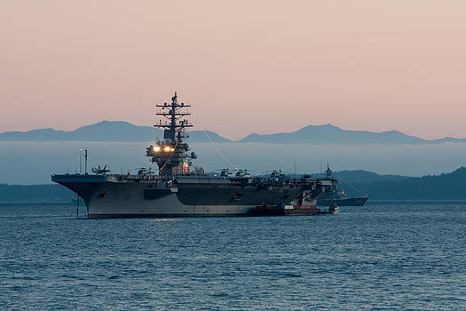 Matt Dobson - Aircraft Carrier at Sunset - USS Ronald Reagan