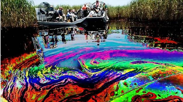 Always look on the bright side of life - Louisiana Marsh and Oil Spill - 2010 by Rod Saavedra-Ferrere