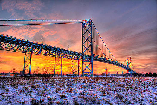 Ambassador Bridge Sunrise 1-16-2012  Detroit MI by Nicholas  Grunas
