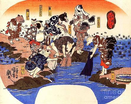Utagawa Kuniyoshi - Animals Dyeing Fabrics
