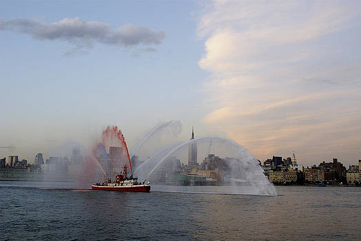 Antique Fire Boat on the Hudson by John and Lisa Strazza