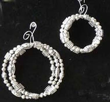 Antique Silver Bead Necklacer And Bracelet Set by Joan  Jones