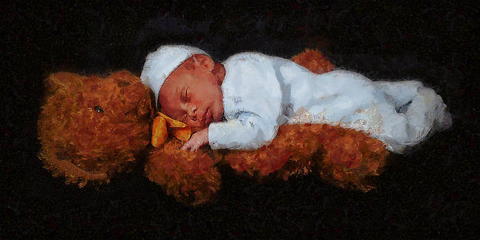 Asleep on Teddy by Christopher Lane