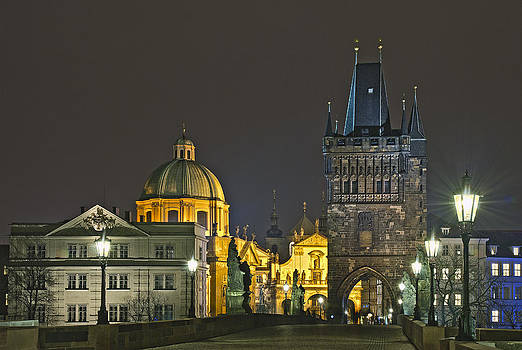 At the Charles bridge by Travel Images Worldwide