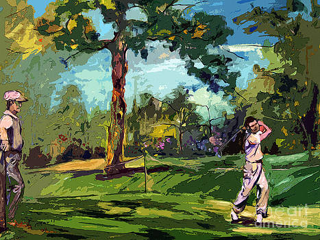 Ginette Fine Art LLC Ginette Callaway - At The Golf Course Vintage Golfers