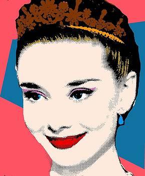 Audrey Hepburn Pop Art Coral Blue by Bao Studio
