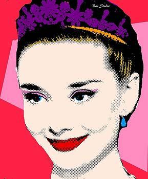 Audrey Hepburn Pop Art Red Pink by Bao Studio