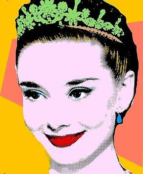 Audrey Hepburn Pop Art Yellow Peach by Bao Studio