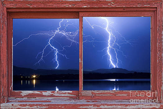 James BO  Insogna - August 5th Lightning Storm Red Picture Window Frame Photo Art