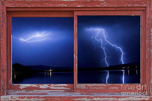 James BO  Insogna - August Storm Red Barn Picture Window Frame Photo Art View