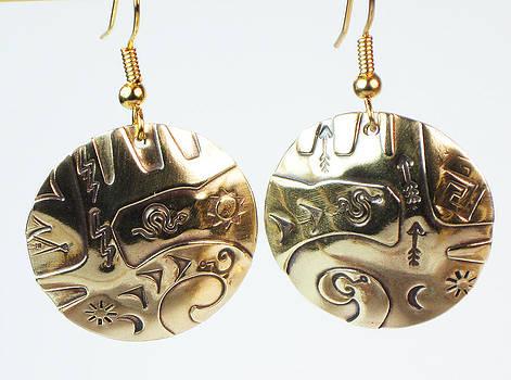 Aztec Sun Spirit Earrings by Virginia Vivier