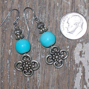 Bali Bead and Turquoise Bead Earrings by Elizabeth Carrozza