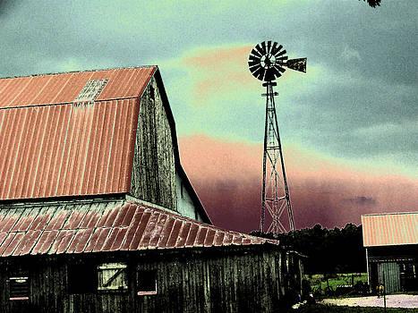 Barn and Windmill by Linda Francis