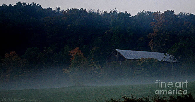 Barn in the fog by Melissa Nickle