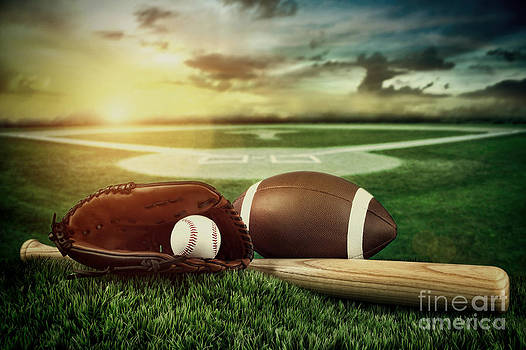 Sandra Cunningham - Baseball  bat  and mitt in field at sunset