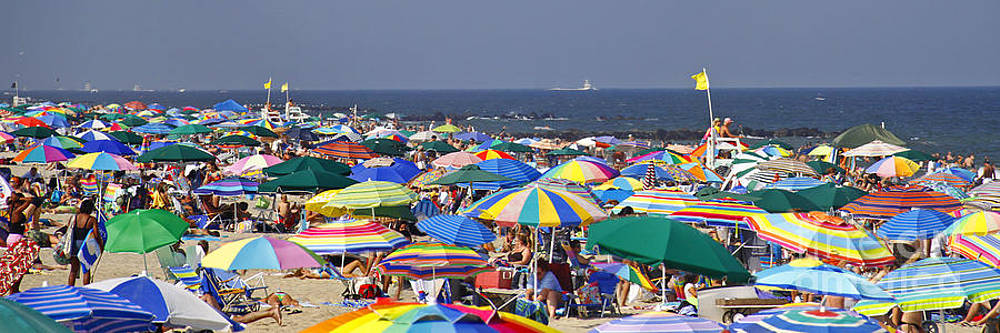 Beach Umbrella Panorama by Kelly S Andrews