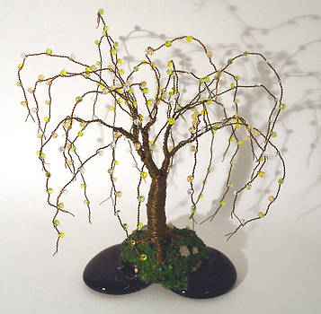 Beaded on Black Base - Beaded Wire Tree Sculpture by Sal Villano