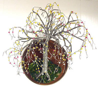 Beaded on Round Base - Wall Art Sculpture by Sal Villano
