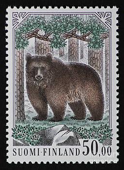 Bear Vintage Postage Stamp Print by Andy Prendy