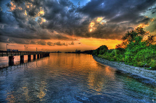 Sunset at Belle Isle Pier Detroit MI by Nicholas  Grunas