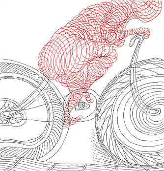 Bicycle Rider in Red Swirls by Phil Burns